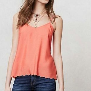 Anthropologie Eloise Lila Coral Scalloped Tank Top
